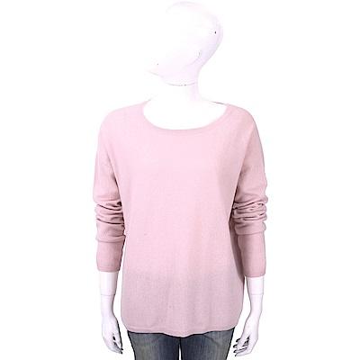 ALLUDE 100%喀什米爾淺粉純色落肩針織羊毛衫
