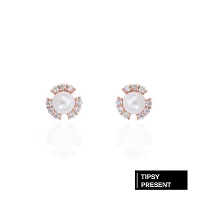 微醺禮物 耳環 正韓 銀針 鍍K 含苞待放的花 珍珠 鋯石 耳針