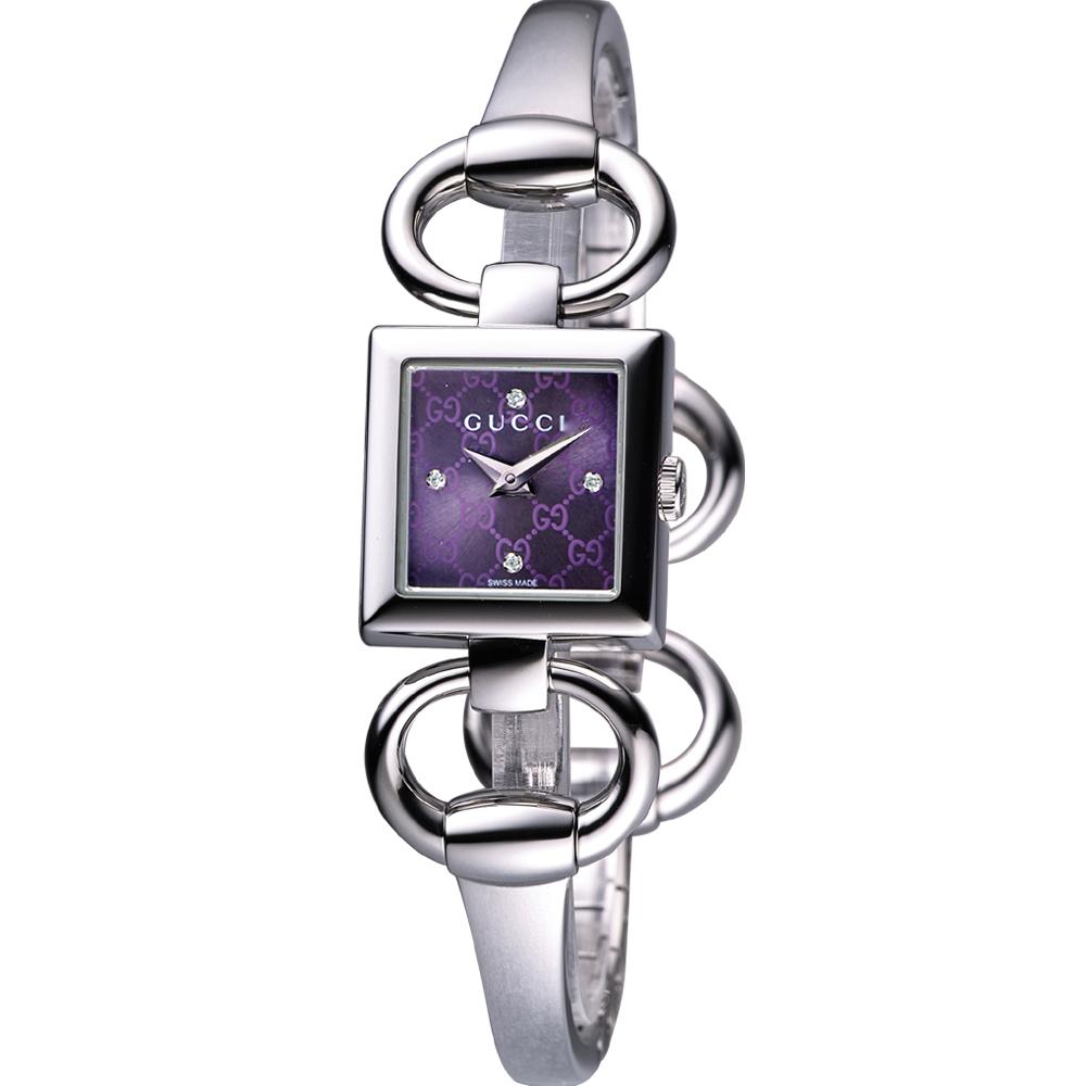 GUCCI Tornabuoni 雙G雕花馬銜鍊鑽錶-狂戀紫/17mm