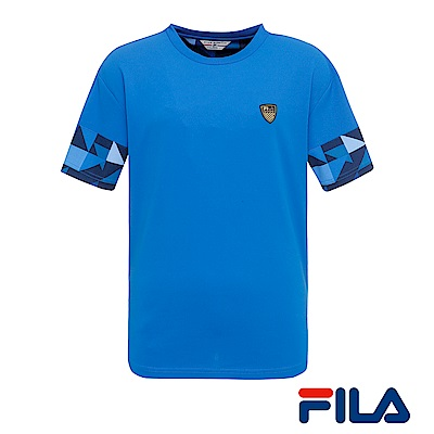 FILA男仕圓領T恤(運動藍)1TER-1449-AB