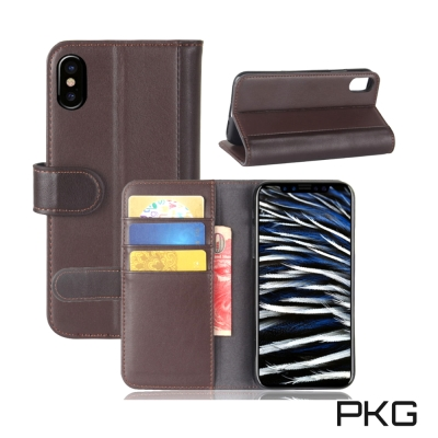 PKG Apple IPhone X 側翻式皮套精緻皮革系列-真皮紋(棕)
