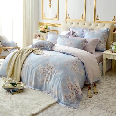 義大利La Belle 雙人天絲防蹣抗菌吸濕排汗兩用被床包組 水芙之戀