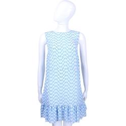 RED VALENTINO 藍x白色高跟鞋圖印無袖洋裝