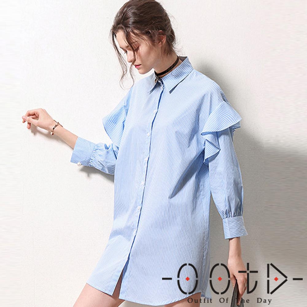 荷葉邊長袖襯衫洋裝(共二色)-OOTD