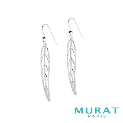 MURAT Paris米哈巴黎 優雅鏤空葉子垂吊耳環