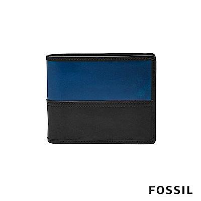 FOSSIL TATE真皮RFID男夾-黑色