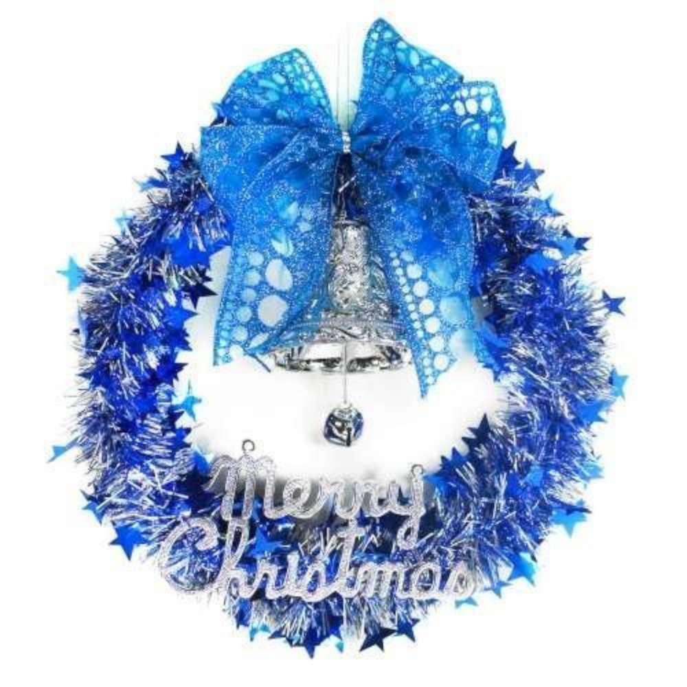 藍銀系金蔥聖誕星星花圈(14吋)