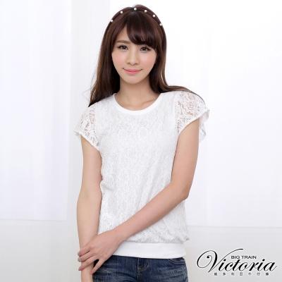 Victoria 全蕾絲短袖上衣-女-白