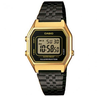 CASIO 經典復古風時尚數位錶(LA-680WEGB-1A)-黑X金框/30.3mm