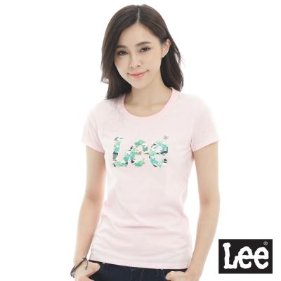 Lee 短袖T恤 logo熱帶雨林印刷-女款-粉紅