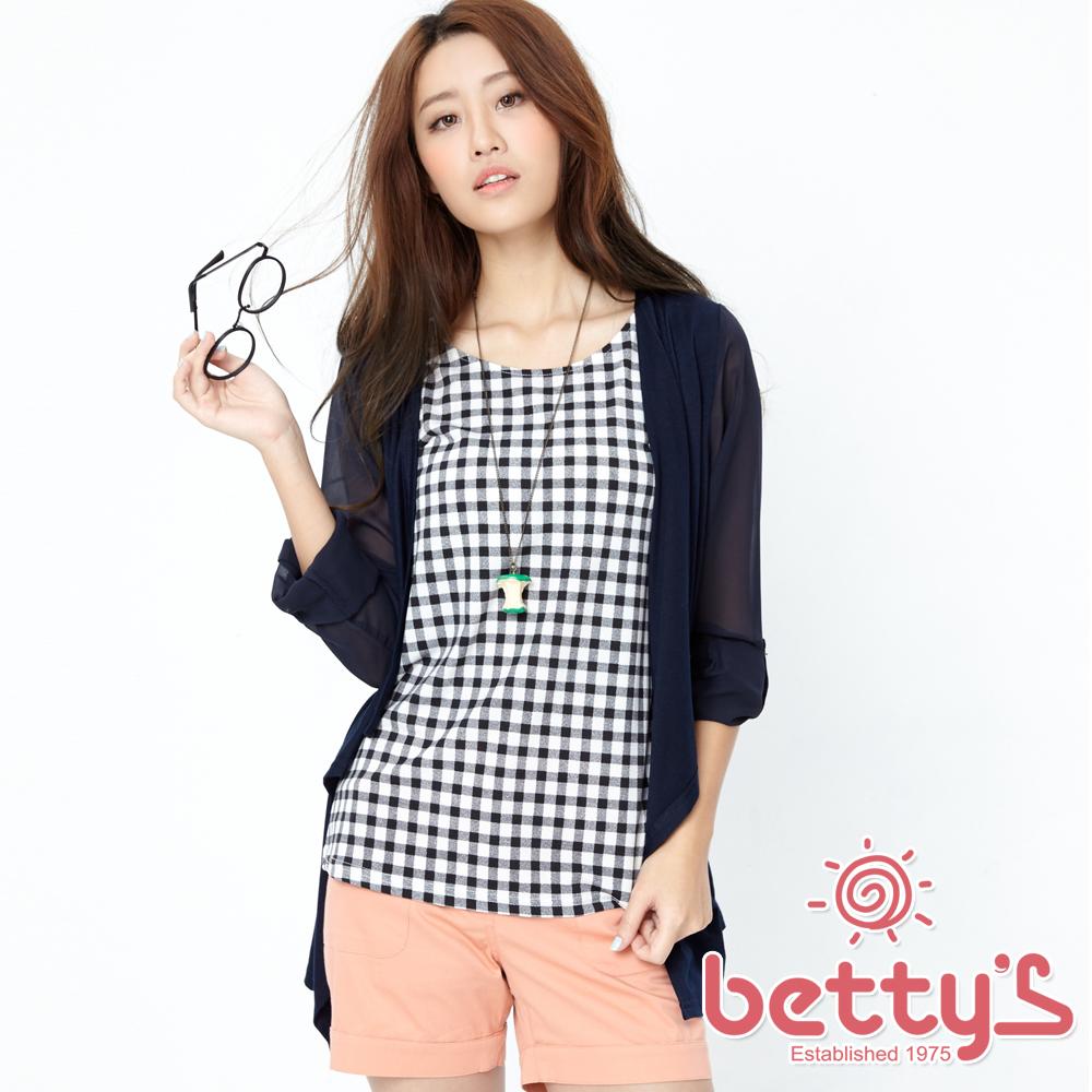betty's貝蒂思 格子背心開襟罩衫兩件式上衣(藍色)