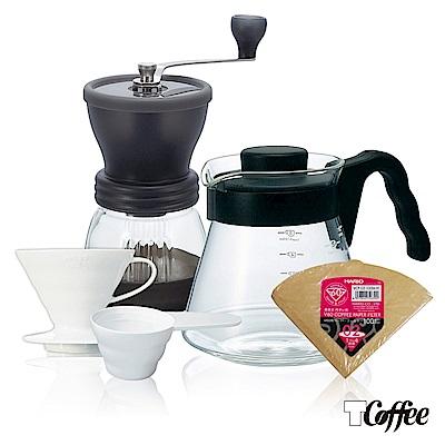 TCoffee HARIO手作咖啡5件組(磨豆機、濾杯、咖啡壺、濾紙、量匙)