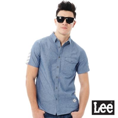 Lee Urban Rider  休閒短袖拼接襯衫-男款-藍