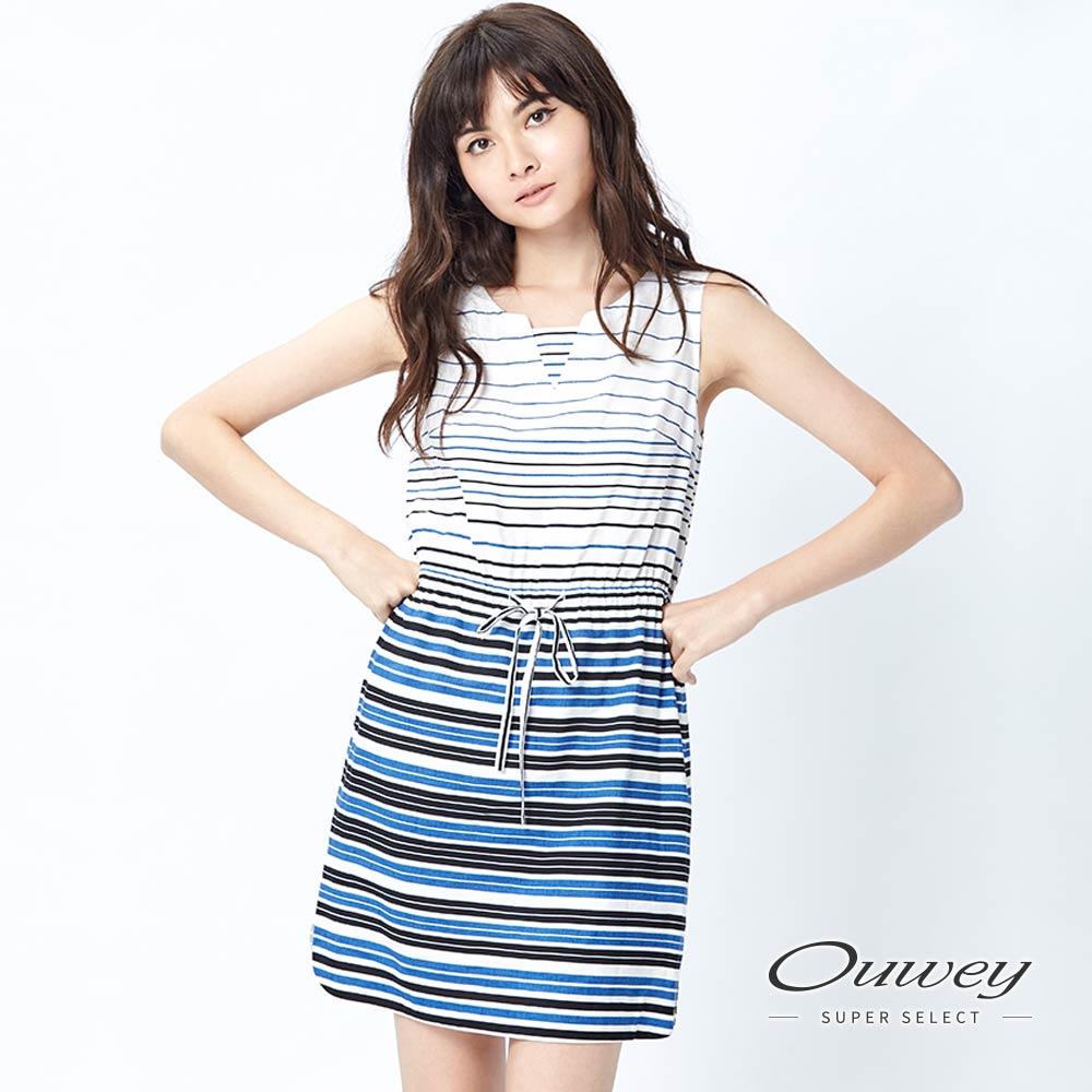 OUWEY歐薇 清爽條紋V領束帶洋裝(藍)