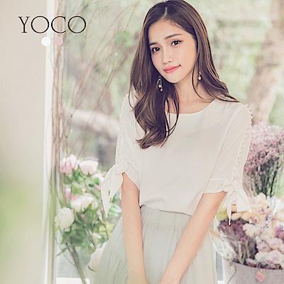 東京著衣-yoco 優雅純色百搭肩鑲珍珠綁結上衣-S.M.L(共二色)