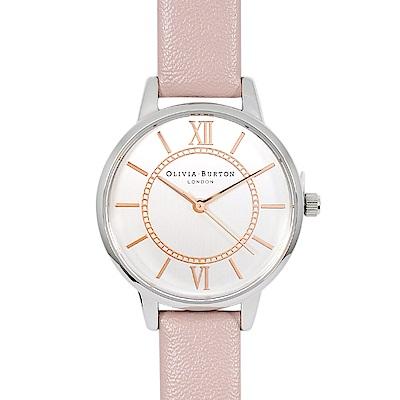 Olivia Burton 英倫復古手錶 夢幻樂園 玫瑰粉真皮錶帶 銀色錶框30mm