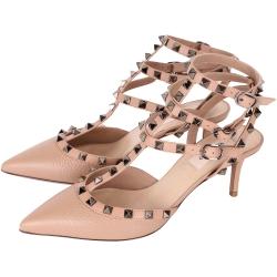 VALENTINO ROCKSTUD 三環鉚釘繫帶粒紋牛皮尖頭低跟鞋(裸色)