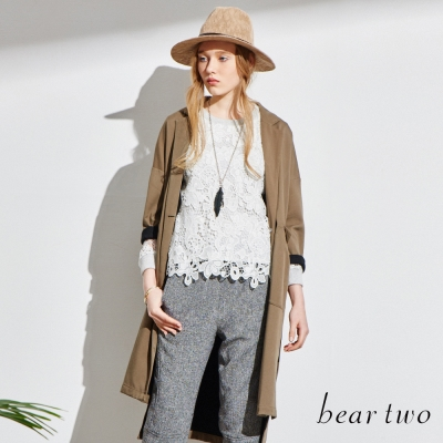 beartwo-斜口袋開襟長版風衣-共二色