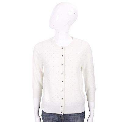 ALLUDE 喀什米爾米白色星空鑽飾V領羊毛針織小外套