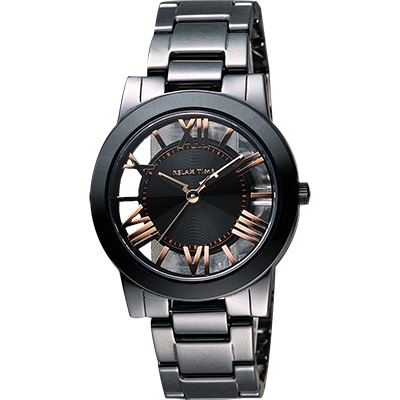 Relax Time 鏤空陶瓷腕錶-黑x玫塊金時標/ 38 mm