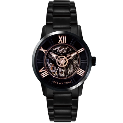 RELAX TIME RT61X系列 羅馬鏤空機械錶(RT-61X-3)-黑45mm