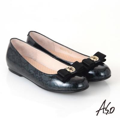 A.S.O 優雅時尚 真皮美型圖騰蝴蝶結飾平底鞋 墨綠