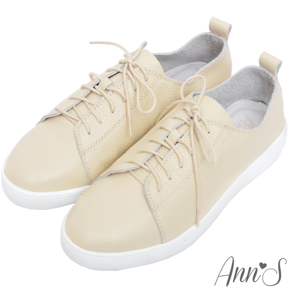 Ann'S第二代超軟真牛皮綁帶小白鞋-米