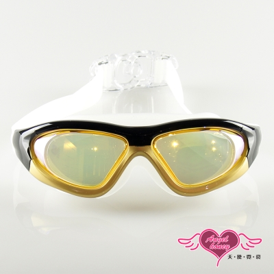 天使霓裳 全景抗UV防霧休閒泳鏡(910-金黃F)