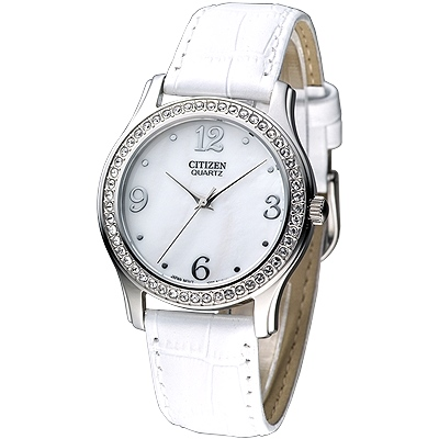 CITIZEN 柔美仕女晶鑽腕錶-白x皮帶版/34mm