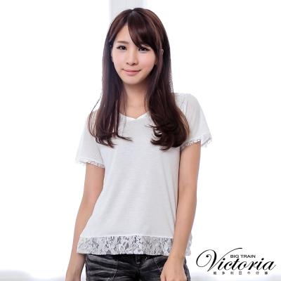 Victoria V領蕾絲剪接短袖T-女-白