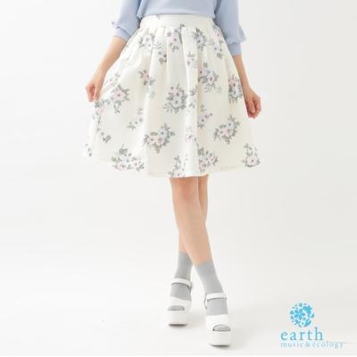 earth music 滿版花朵後鬆緊腰中長裙
