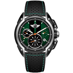 MINI Swiss Watches 熱血剽悍三眼計時腕錶-綠x黑/45mm