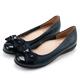CHOiCE-舒適甜美-蝴蝶結鑽飾牛皮娃娃鞋-深藍