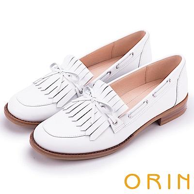 ORIN 復古文青風 懷舊流蘇牛皮樂福鞋-白色