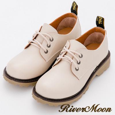 River&Moon踝靴-台灣製經典繫帶牛津鞋馬丁靴-奶油杏