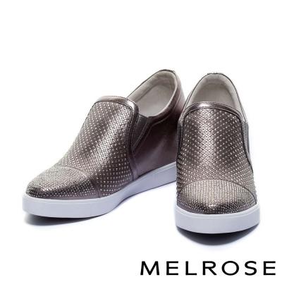 休閒鞋-MELROSE-全真皮晶鑽內增高休閒鞋-銅