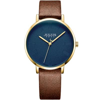 JULIUS聚利時 再一次初戀復刻真皮腕錶-深藍x棕色/36mm