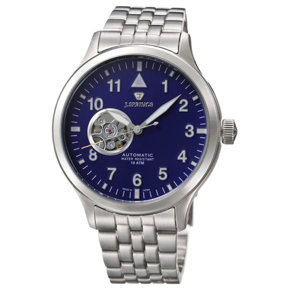 J.SPRINGS Semi-Skeleton 小鏤空機械腕錶-藍/42mm