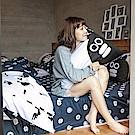 戀家小舖 / 雙人床包枕套組  灰藍紳士款-掰啾的幽默  100%精梳棉  台灣製