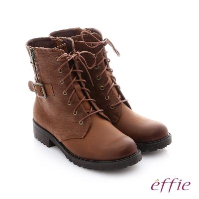 effie 個性美型 防潑水麂皮扣帶綁帶中筒靴 茶色