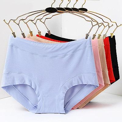 JoyNa 內褲女大碼大版型 莫代爾中高腰三角褲-三件入