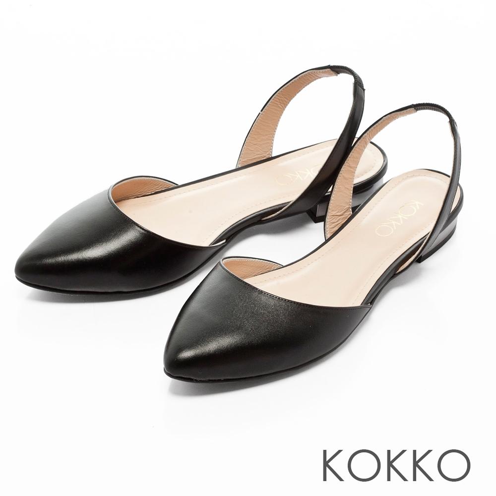 KOKKO - 復古女伶尖頭後拉帶平底鞋-經典黑