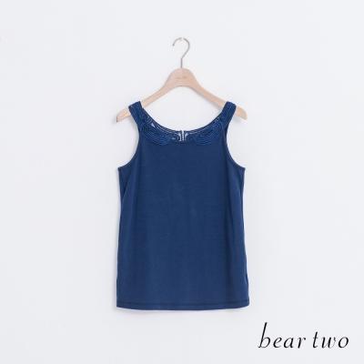 beartwo 織花布蕾絲領片造型背心(三色)