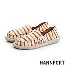 HANNFORT COZY俐落條紋氣墊休閒鞋-女-溫暖橘
