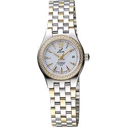 ENICAR 英納格 傳真系列時尚晶鑽機械女錶-白x雙色版/26mm