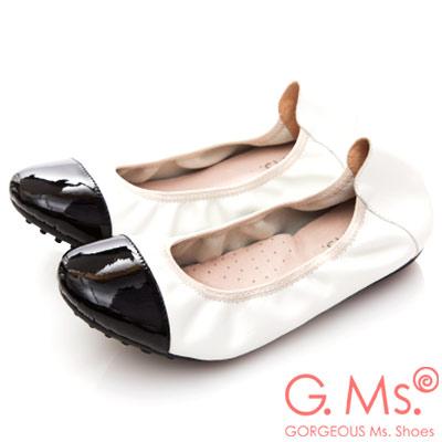 G.Ms. 牛漆皮拼接羊皮娃娃鞋-白色