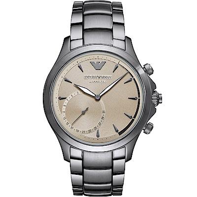 Emporio Armani CONNECTED智慧型手機連線手錶-淡金X銀/43mm