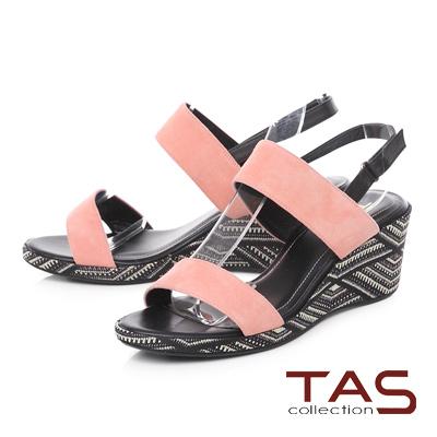 TAS 圖騰刺繡寬版繫帶楔型涼鞋-知性粉