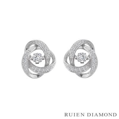 RUIEN DIAMOND 20分跳舞鑽石 花戀系列 18K白金 鑽石耳環