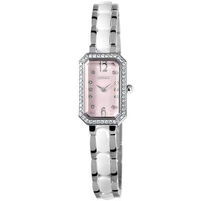 MANGO 花漾晶鑽陶瓷時尚腕錶-粉/18mm